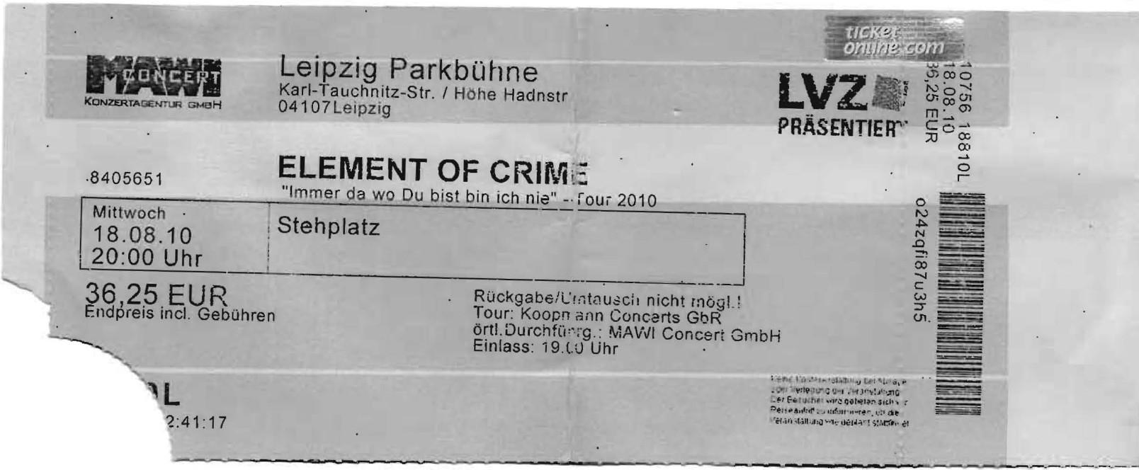 Elemet Of Crime - Parkbühne - Leipzig