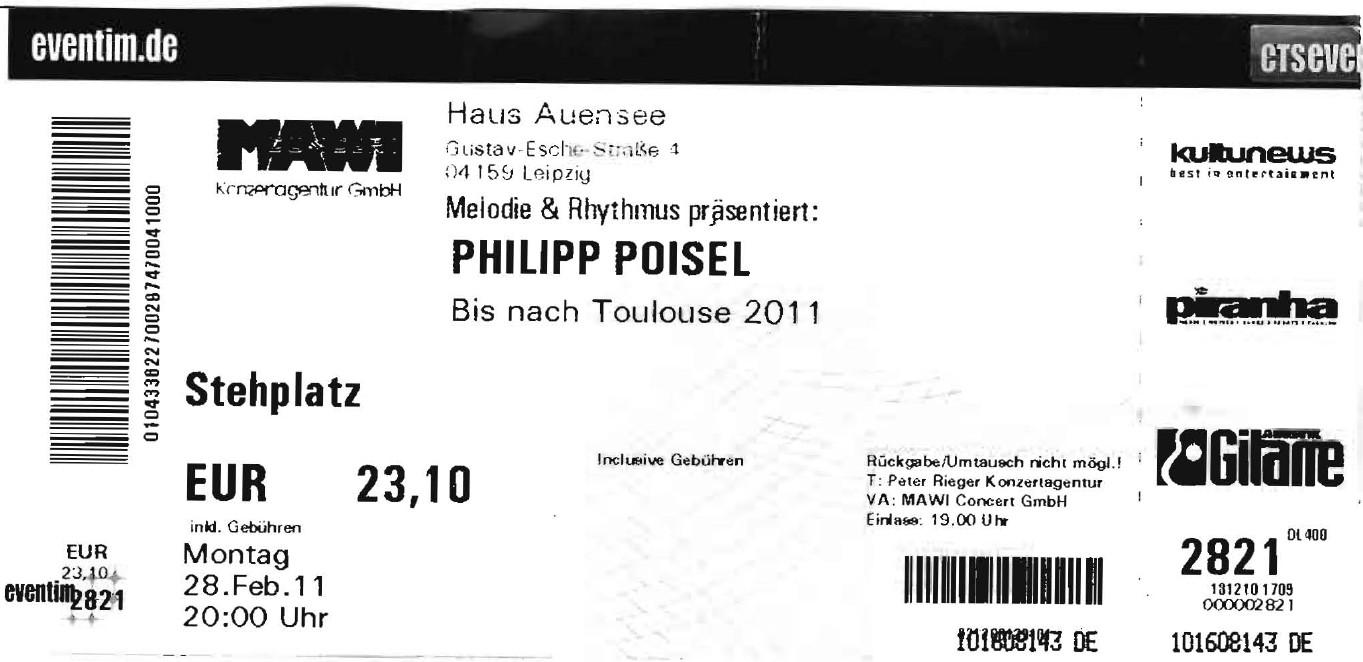 Philipp Poisel - Haus Auensee - Leipzig