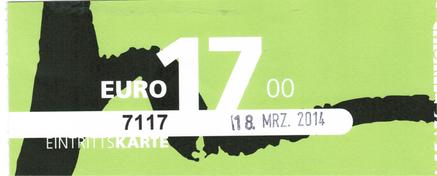 Eintrittskarte Moritzbastei 18.03.2014