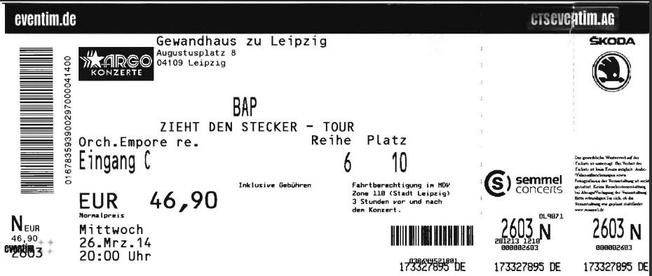 Eintrittskarte - BAP - 26.03.2014 im Gewandhaus zu Leipzig