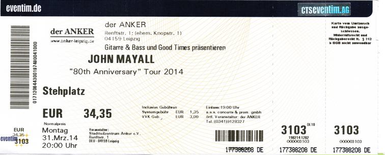 Ticket - John Mayall im Anker zu Leipzig