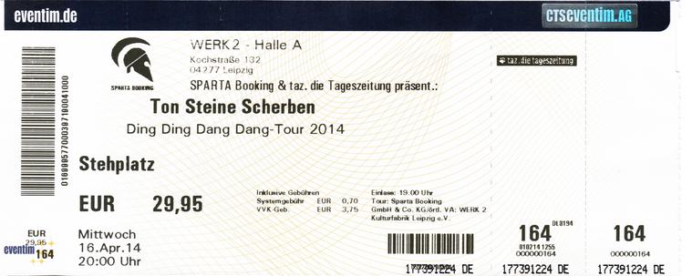 Ticket Ton Steine Scherben am 16.04.2014 im Werk 2