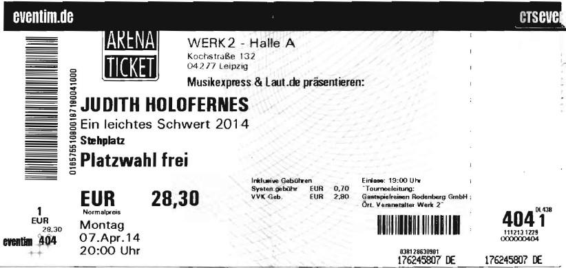 Ticket Judith Holofernes im Werk 2 in Leipzig