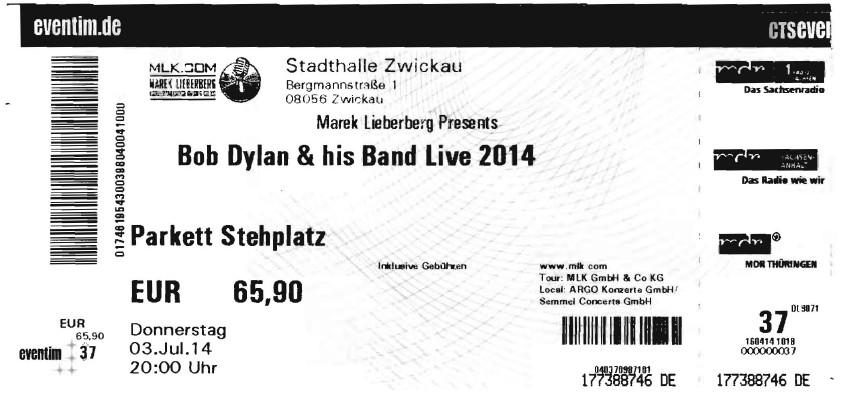 03.07.2014 BobDylan in Zwickau